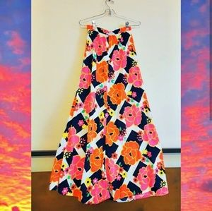 Vintage 60s 70s neon psychedelic maxi skirt